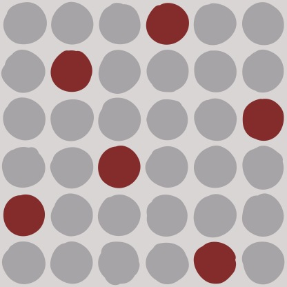 Mod Dot Grey Red 42x42